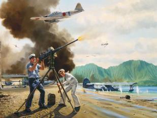 Imagine atasata: John-Finn-defending-Naval-Air-Station-Kaneohe-Bay-on-Dec.-7-1941-entitled-The-Warriors-of-Kaneohe.jpg